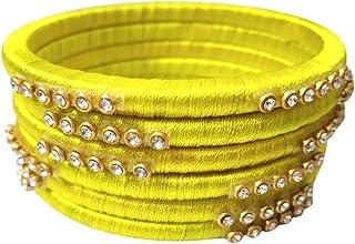 عرض الاحتفالي من GOELX: أساور مصنوعة يدويًا من الحرير الأصفر للنساء
