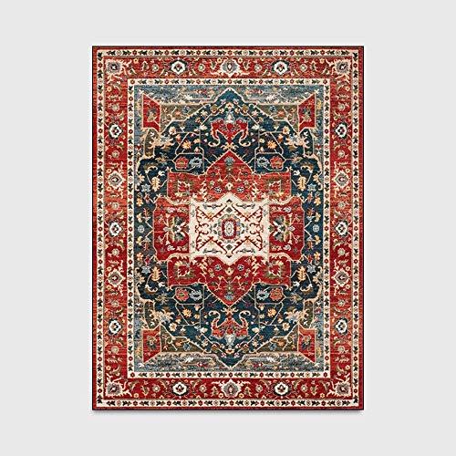 Moderne Karpetten Ultrazacht Indoor Retro Perzische Stijl Rood Zwart Geometrische Etnische Stijl Pluizige Woonkamer Tapijten Geschikt voor Kinderen Slaapkamer Tapijten,100 * 160cm