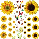 27 Pcs Sunflower Wall Stickers with 48 Pcs Colorful 3D Butterfly Wall Stickers Yellow Flowers Decal Removable Yellow Sunflower Butterfly Wall Decals Decoration for DIY Kids Nursery Bedroom TV Wall