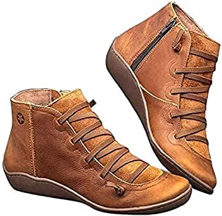 Women's Arch Support Boots Autumn Retro Lace Up Shoes Comfy Flat Heel Ankle Booties Zipper Round Head Casual Short Boot