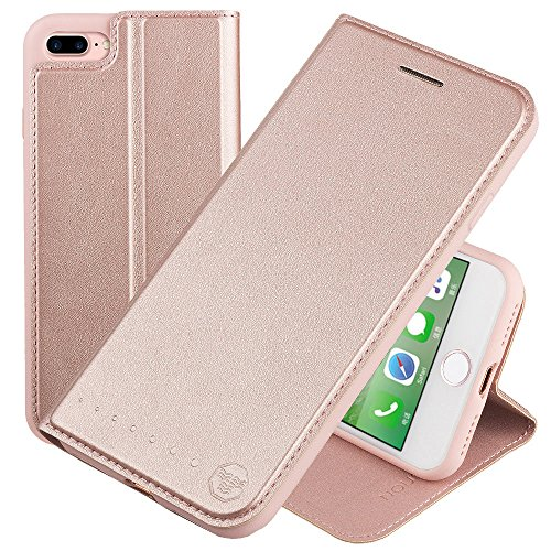 NOUSKE Funda Tipo Cartera para iPhone 7 Plus iPhone 8 Plus de 5,5 Pulgadas de Apple, Oro Rosa