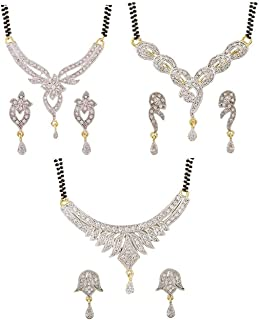YouBella Women's Pride Collection Combo of Three Designer American Diamond Mangalsutra