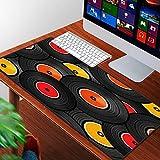 Luoquan Alfombrilla Raton Grande Gaming Mouse Pad,Rock Discos de Audio de Vinilo Diseño LP Tecnología diversa Música DJ Roll Set Fun,Lavable, Antideslizante Diseñada para Gamers, Trabajo de Oficina