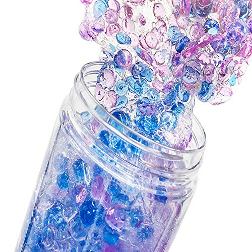 SLOUEASY - 200ML New Idea Crystal Slime Putty with Purple Blue Fishbowl Beads, 200ml Fluffy Floam Slime Stress Relief Toy Scented Sludge Toy for Kids and Adults, Super Soft and Nonsticky(Purple+Blue)