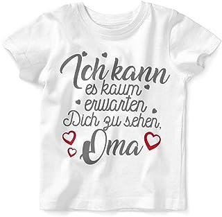 Mikalino Baby/Kinder T-Shirt mit Spruch für Jungen Mädchen Unisex Kurzarm Ich kann es kaum erwarten Dich zu sehen Oma   handbedruckt in Deutschland