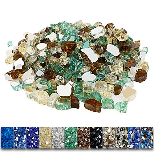 Grisun Fire Glass Mixed Color for Fire Pit, 1/2 Inch 9.5 Pounds Reflective Tempered Glass Rocks for Natural or Propane Fireplace, Safe for Outdoors and Indoors Fire pit, Ultra White, Evergreen, Copper