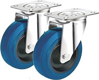 2 zwenkwielen, 150 mm, elastische banden, zacht en stil, met rollagers