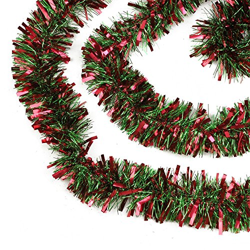 Northlight Festive Thick Cut Christmas Tinsel Garland Unlit-6 Ply, 50', Red/Green