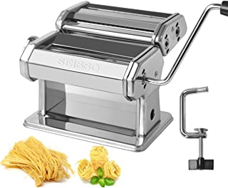 Pasta Maker Machine - Stainless Steel Removable Noodle Making with Adjustable Thickness Settings - Perfect for Professional Homemade Spaghetti and Fettuccini