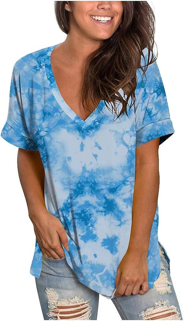 Womens Tops Womens Summer Tops,Womens Short Sleeve Shirts Cold Colors V-Neck Tee Tshirts Printed Loose Summer Tops