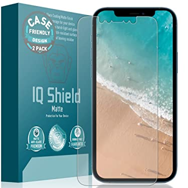 IQ Shield Matte Screen Protector Compatible with Apple iPhone 12 Pro Max (6.7 inch)(Case Friendly)(2-Pack) Anti-Glare Anti-Bubble Film