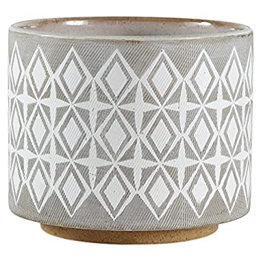 Rivet Geometric Ceramic Planter, 6.5 H, White and Grey