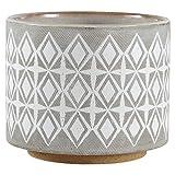 Rivet Macetero de cerámica geométrico, 16,5 cm de alto, blanco y gris