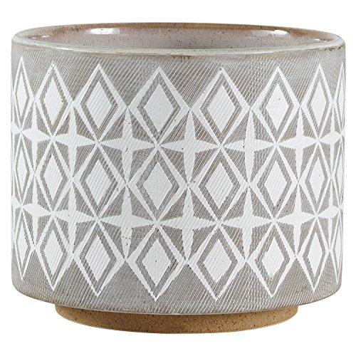 Rivet Geometrischer Pflanztopf aus Keramik, 16,5 cm hoch, Weiß und Grau