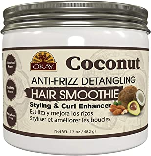 Okay coconut anti frizz detangling hair smoothie 17 ounce, White, 17 Ounce