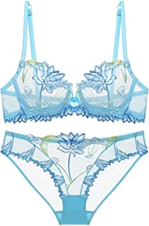 Sexy Lingerie Floral Lace Transparent Breathable Women'S Underwear Bra Set For Women