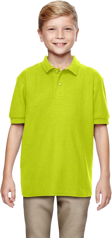 72800B Gildan DryBlend Youth Double Piqué Polo (Safety Green) (S)