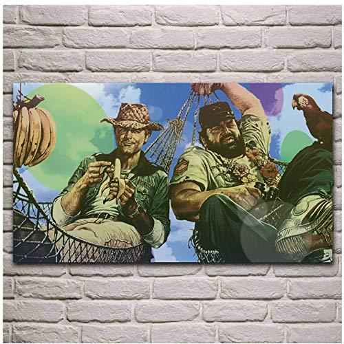 NRRTBWDHL Terence Hill Bud Spencer Film Kunstwerk Stoff Poster Wohnzimmer Zuhause Wand dekorative Leinwand Seide Kunstdruck auf Leinwand-50x100cm No Frame