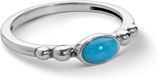 Sterling Silver Oval Blue Turquoise and Red Coral Stacking Ring Sizes 5 to 10