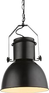 Lámpara de techo colgante negra vintage industrial para comedor de cocina (lámpara de restaurante industrial, metal, 27 cm)