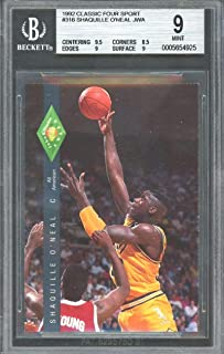 1992 classic four sport #318 SHAQUILLE O'NEAL JWA rookie BGS 9 (9.5 8.5 9 9) Graded Card