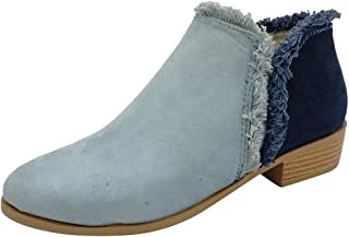 Holzkary Women's Winter Ankle Bootie Side V Cut Low Chunky Stacked Heel Boots with Faux-Fur