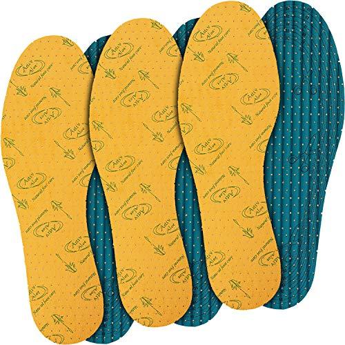 jaQob Aloe Vera Barfuß Einlegesohlen anitbakteriell mit Frischeduft - Schuheinlagen Schweißfüße - Sohlen gegen Schweißfüße - 3 Paar Größe 35-46