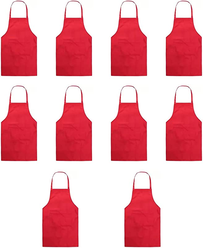 Hi Loyaya Total 10 Pcs Plain Color Bib Apron With 2 Pockets Painting Event Party BBQ Cooking Kitchen Aprons For Women Men Adults 10 Red