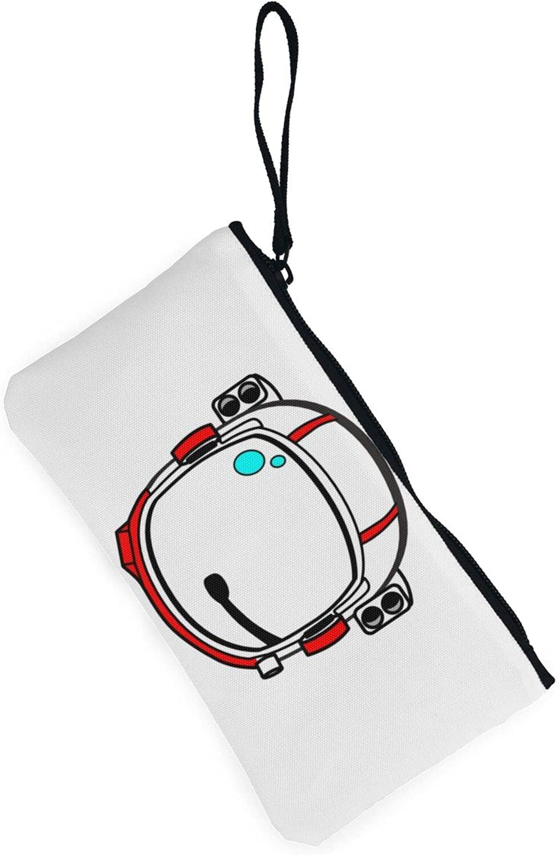 AORRUAM Red astronaut helmet Canvas Coin Purse,Canvas Zipper Pencil Cases,Canvas Change Purse Pouch Mini Wallet Coin Bag