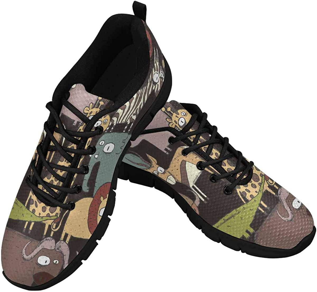 INTERESTPRINT African Animals Women's Athletic Mesh Breathable Casual Sneaker