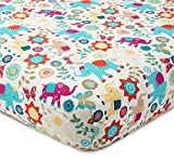 Levtex Baby - Zahara Crib Fitted Sheet - Fits Standard Crib and Toddler Mattress - Boho Elephants, Leaves and Flowers - Orange, Teal, Yellow, Red, Fuchsia - Nursery Accessories - 100% Cotton