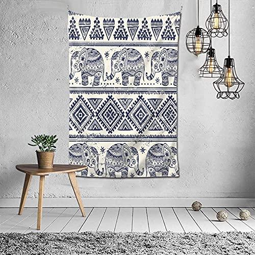 Tapiz de elefante de patrones tribales para colgar en la pared, tapices coloridos para decoración estética de dormitorio (60 'x 40', 152 cm x 102 cm)