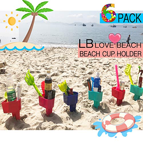 RUN HELIX Beach Cup Holder Multifunction Beach Cup Holder Sand Grass Drink Holder for Beverage Phone Sunglasses Sunscreen Key Vacation Accessory Beach Gear 6-Pack(Random Color)