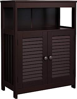 Best VASAGLE Bathroom Storage Floor Cabinet, Free Standing Cabinet with Double Shutter Door and Adjustable Shelf, Brown UBBC40BR Review