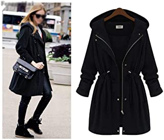 LUKEEXIN Plus Size 2019 Autumn Winter Women Fashion Hooded Puff Sleeve Women Trench Coat for Women Womens Plus Size Fashions Jacket