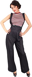 123c53805f1e3 SugarShock Damen Hosenträger Marlene Retro Denim Rockabilly Jeans High  Waist Hose