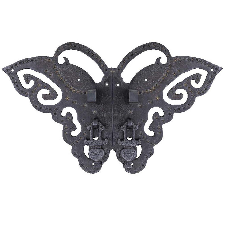 Butterfly Door Knocker, Furniture Handles Antique Copper Handle/Door Lock/Retro Knob/Hardware Accessories-Black screw-15Cm