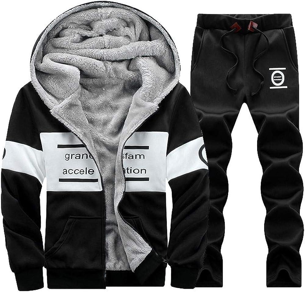 Sharemen Men's Winter Hoodies Sweat Suit Thicken Tracksuit Set Pants Sport Set(L4,Black)