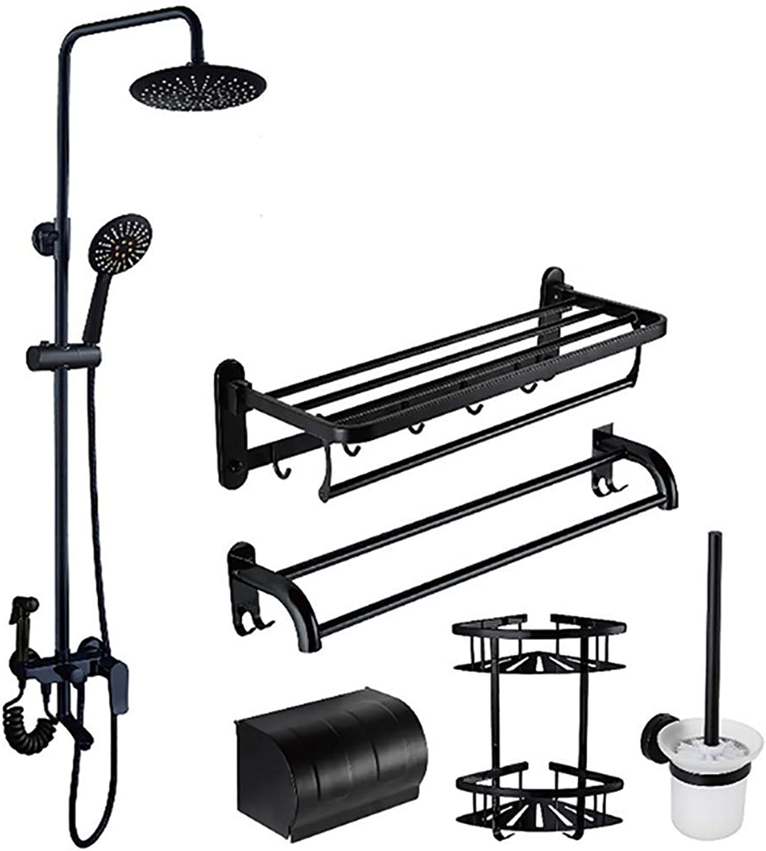 ZQDL Black Rain Shower Set Three-Speed Adjustable Sprinkler Height Adjustable Copper Body Suitable for Hotel Home,A6