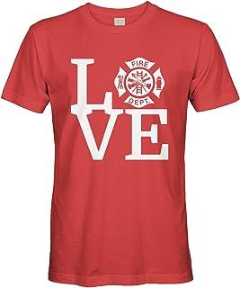 Cybertela Men's Love The Fire Department Firefighter T-Shirt