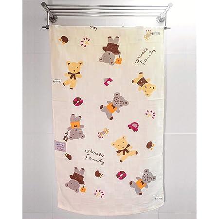 Rachna's Quick Drying High Absorbent Cartoon Animal Printed Baby & Kids Super-Soft Muslin Square Cotton Bath Towel Wash Cloth - 12003 - Yellow - 60CMS x 120CMS