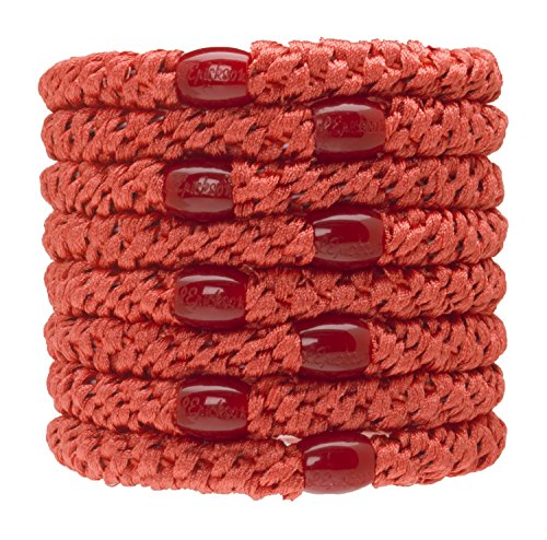 L Erickson Grab amp Go Ponytail Holders Coral Set of Eight  Exceptionally Secure with Gentle Hold