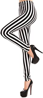 Women's Black White Striped Ankle Length Stretchy Legging Pants