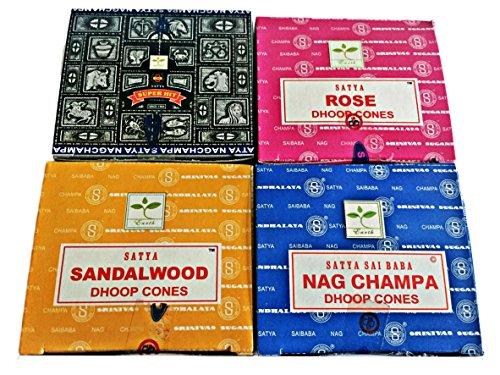 """Satya conos de incienso """"todos los 4"""" cajas Nag Champa, Rosa, Madera d"""