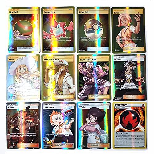 Lot de 100 cartes à jouer GX pour enfants 60 V + 40 V max pour Pokémon (189 g + 11 entraîneur)