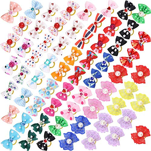Comsmart 60Pcs Dog Bows, 30 Pairs Yorkie Dog Puppy Hair Bows with Rubber Bands & Rhinestone Pearls & Handmade Lace Fabric, Cute Pet Small Dog Hair Bowknot Grooming Accessories
