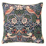Signare Tapiz Cojines Decorativos para sofacojines Salon con diseños de William Morris (18x18 Pulgadas 45x45cm) (Strawberry Thief Blue)