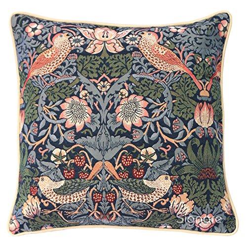 Signare Tapestry Cushion Cover 18 x18 inches 45cm x 45cm Decorative Sofa Cushions with William Morris Design (Strawberry Thief Blue, CCOV-STBL)