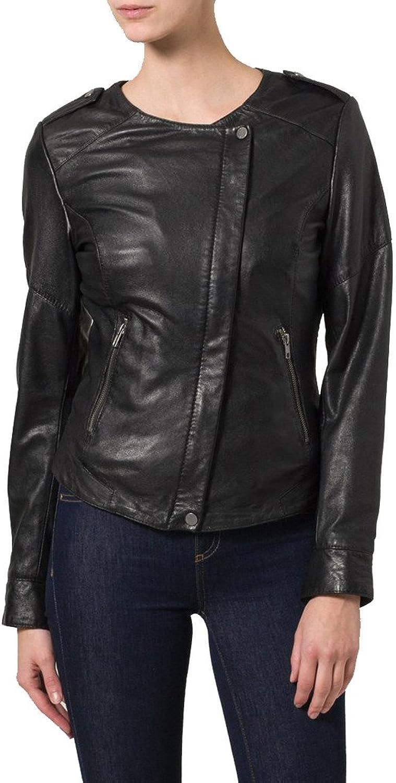 Women genuine Leather jacket Short Slim Coat KLW057