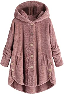 yibiyuan Women Coat Hooded Pullover Button Fluffy Tail Loose Cotton Sweater Tops